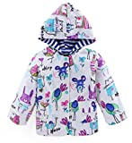 Bakerdani Kids Cute Stripe Cartoon Graffiti Raincoat Waterproof Windproof Coat