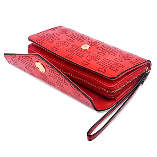 Red zipper card Stylish holder Wallet Leather clutch Women i5 for purse designer fashionable bag qOxwaSg