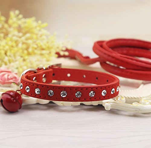 Efanr Cute Bells Diamond Dog Collar Cat Collars with Leash Quality Pet (Innotek Cat Collar)