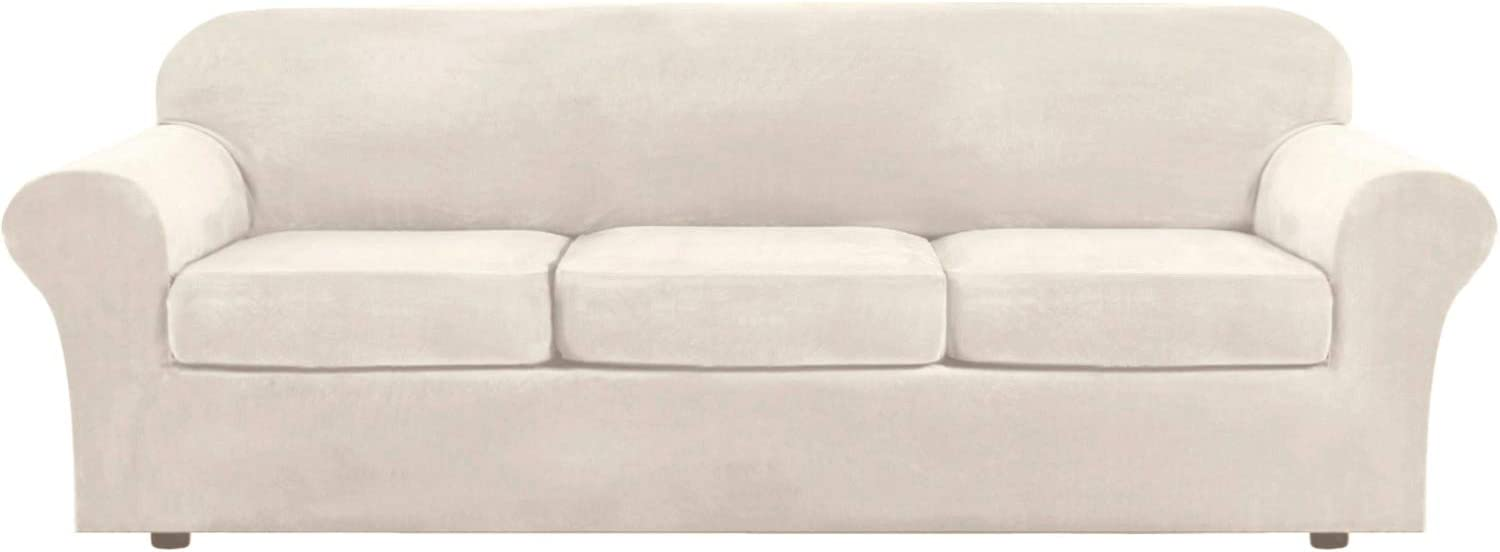H.VERSAILTEX Modern Velvet Plush 4 Piece High Stretch Sofa Slipcover Strap Sofa Cover Furniture Protector Form Fit Luxury Thick Velvet Extra Large Sofa Cover for 3 Cushion Couch(XL Sofa, Ivory)