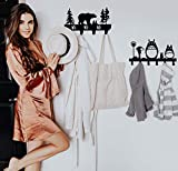 CoolPlus Coat Hooks Wall Mounted Entryway Dog Leash and Key Holder Belt and Hat Organizer Totoro Pattern Sweet Black