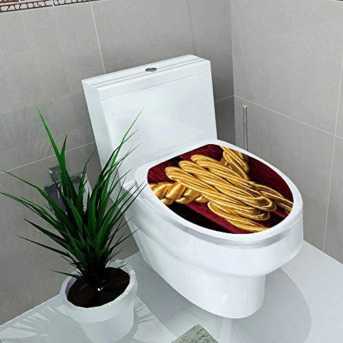 (Bathroom Toilet red Velvet Curtain Tassel Knot on Rope Vinyl Decal Sticker W11 x L13)