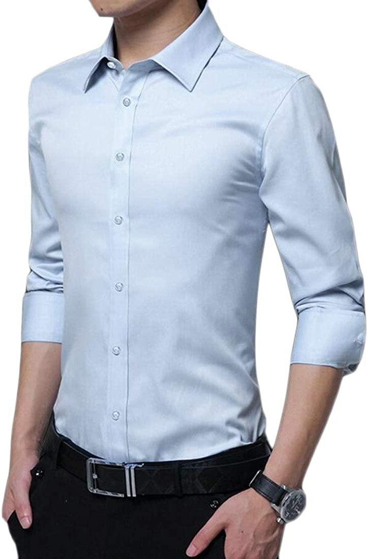 WSPLYSPJY Mens Business Solid Long Sleeve No-Iron Point Collar Dress Shirts
