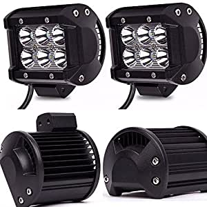 TURBOSII 4Pcs 4Inch Spot Beam 18W Led Work Light Bar Pods Cube Driving Fog Lights For Ford Jeep Toyota Polaris RZR Ranger Can Am Boat Offroad 4wd Truck Pickup SUV Van ATV UTV Tractor Lamp 12-24V