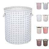 DOKEHOM DKA0812WEL2 19.7' Large Laundry Basket (Available 17.7' and 19.7'), Waterproof Round Cotton Linen Collapsible Storage Basket (Blue Checker, L)