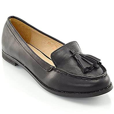8bbca4bd810a9 ESSEX GLAM New Ladies Tassel Loafers Womens Casual Vintage Flats Work  Office School Shoes Size 3 4 5 6 7 8: Amazon.co.uk: Shoes & Bags