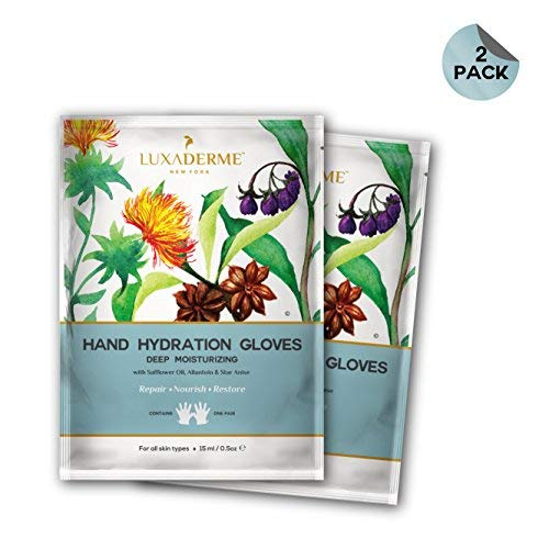 LuxaDerme Deep Moisturizing Hand Hydration Gloves with Safflower Oil, Allantoin and Star Anise, 15ml (Pack of 2)