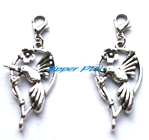 Hummingbird zipper pull,Zipper Pull, Perfect for Necklaces, Bracelets , keychain and earrings