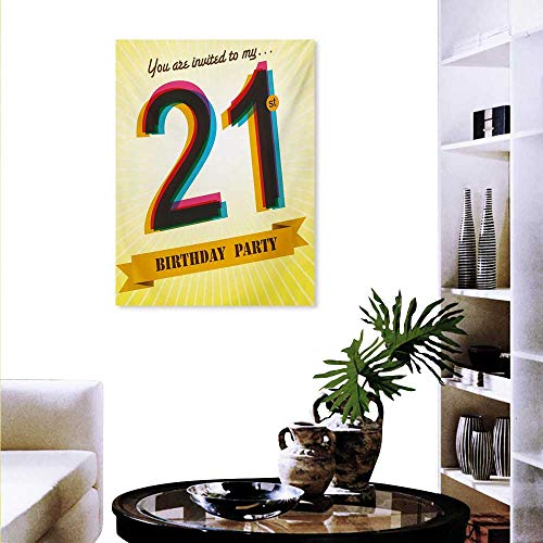 - Mannwarehouse 21st Birthday Landscape Wall Stickers Invitation to an Amazing Birthday Party on a Yellow Radial Backdrop Image Wall Stickers 24