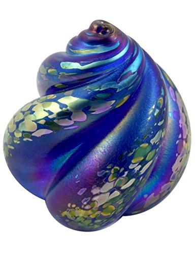 American Made Nautical Swirl Blown Glass Paperweight Sculpture (cobalt blue)