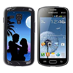 Caucho caso de Shell duro de la cubierta de accesorios de protección BY RAYDREAMMM - Samsung Galaxy S Duos S7562 - Couple Love Romance Beach Moon Palm Tree
