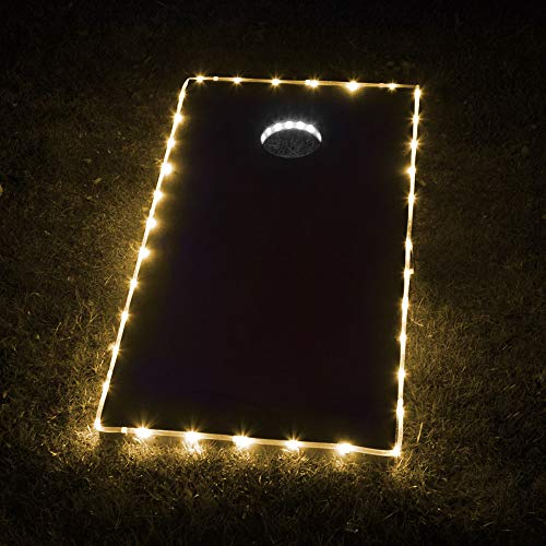 Cornhole Lights, Cornhole Led Lights fit for Cornhole Boards, Cornhole Bags, Backyard Bean Bag Toss Game, Two White Cornhole Rings Lights and Two Yellow Cornhole Edge Lights ()