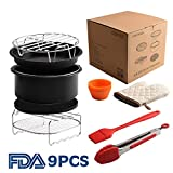 7 inch XL Air Fryer Accessories Set of 9 for Phillips Cozyna and Secura etc,Fit all 3.7QT - 5.3QT - 5.8QT Air Fryer