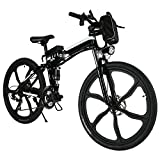 Cheap Kaluo Portable Foldable Electric Power Mountain Terrain Bicycle, 26-inch Super Lightweight Aluminum Alloy, and Large Capacity Lithium-Ion Battery (36V 250W) (Black Frame)