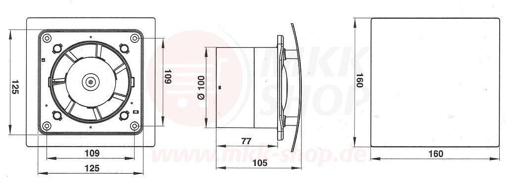 10 cm acero inoxidable con un di/ámetro de:100 mm Con v/álvula de agua estancada WEI y sensor de humedad Ventilador de ba/ño temporizador de humidistato