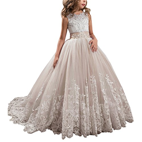 Princess Champagne Long Girls Pageant Dresses Kids Prom Puffy Tulle Ball Gown US 8