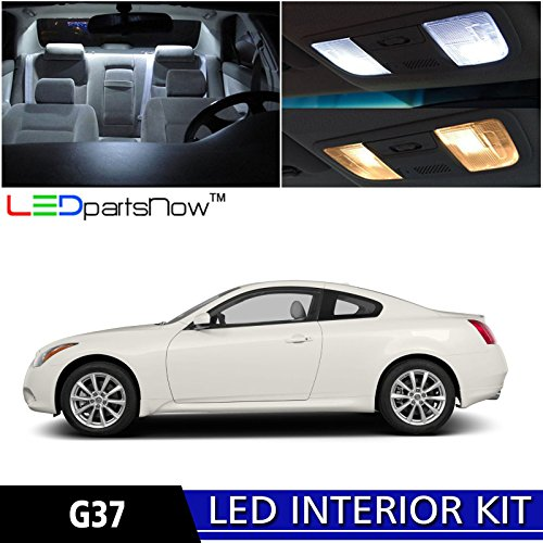 LEDpartsNow 2008-2014 Infiniti G37 Coupe LED Interior Lights Accessories Replacement Package Kit (9 Pieces), WHITE