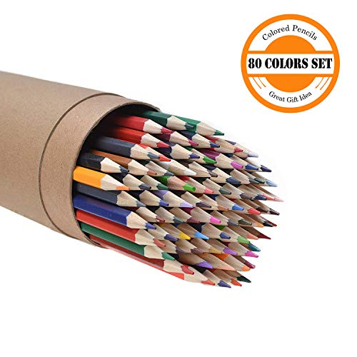 CYPER TOP 80-color Colored Pencils Set for Adults and Kids, Drawing Pencils for Sketch, Arts, Coloring Books