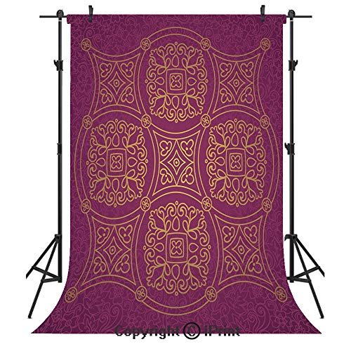 Purple Mandala Photography Backdrops,Persian Ornamental Lace Pattern Traditonal Authentic Arabic Folkloric Boho Design,Birthday Party Seamless Photo Studio Booth Background Banner 10x20ft,Gold