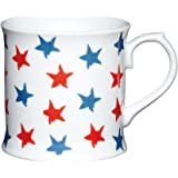 Kitchen Craft - Tazza mug in porcellana a stelle, 400 ml, colore: rosso e blu