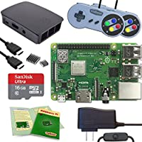 Viaboot Raspberry Pi 3 B+ Gaming Kit — Official 16GB MicroSD Card, Official Rasbperry Pi Foundation Black/Gray Case, SNES Edition