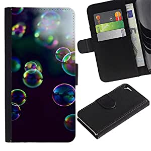 WonderWall Fondo De Pantalla Imagen Diseño Cuero Voltear Ranura Tarjeta Funda Carcasa Cover Skin Case Tapa Para Apple Iphone 5 / 5S - burbujas de jabón naturaleza del verano de reflexión