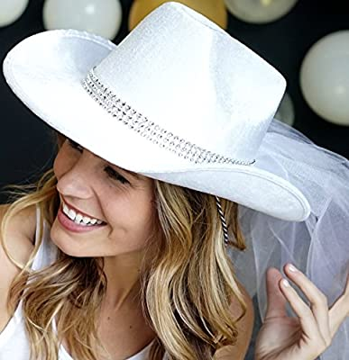Country Western Bride To Be White Cowboy White Hat with White Veil - Cowgirl Bachelorette Party or Bridal Shower Hat