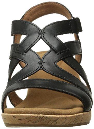 Caged Sandal Leather Briah Women's Black Wedge Rockport wf4gEqE