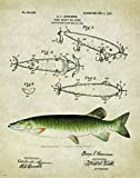 Antique Fly Fishing Lure US Patent Poster Art Print Trout Largemouth Bass Walleye Muskie Lures Poles 11×14 Wall Decor Pictures