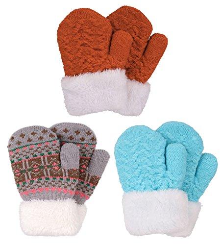 Set of 3 Kids' Sherpa Lined Knit Mittens,Powder Blue+Fair Isle/Grey+Burnt Orange