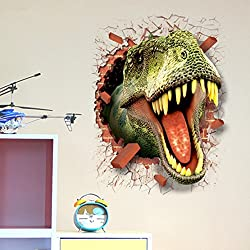 "U-Shark 3D Self-adhesive Removable Break Through the Wall Vinyl Wall Sticker/Mural Art Decals Decorator (3D Dinosaurs Opening Mouth(19.7"" X 27.6""))"