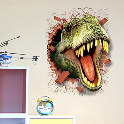 U-Shark 3D Self-adhesive Removable Break Through the Wall Vinyl Wall Sticker/Mural Art Decals Decorator (3D Dinosaurs Opening Mouth(19.7