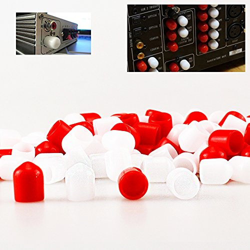 Melleco 200pcs RCA Female Connector Socket Jack Plug Protector Cap Cover for DVD Amplifier AV RV Receiver Dust (Amplifier Plug)