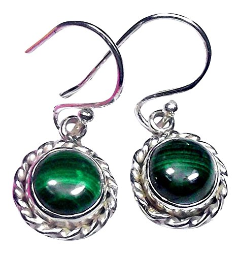 Sitara Collections SC10416 Sterling Silver Earrings, Malachite
