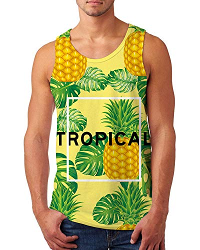 (uideazone Men's Tank Top Summer Holiday Hawaiian Vest Casual 3D Yellow Pineapple Tropical Graphic Tees Sleeveless Beach Top)