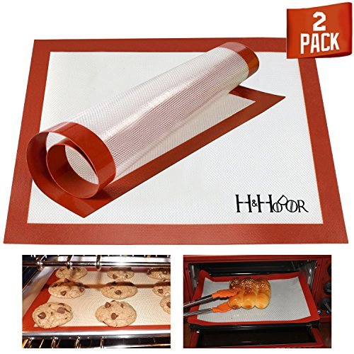 Silicone Baking Mat, Non Stick Heat Resistant Baking Sheet Liner Set Tool, Macaroon/Dessert/Cookie/Cake/Bread Making, Best for Microwave Toaster Oven Tray 2 Pack by H&HODOR