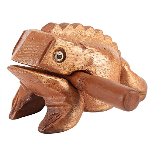 Symphony Wooden Frog, Feng Shui Lucky Frog Wood Frog Guiro Rasp Instrument Tone Block (L)