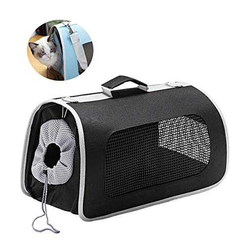 Black Large Black Large LiRongPing Portable Pet Carrier, Crate for Dogs Or Cats, Locking Safety Drawstring, Great for Travel, Indoor, And Outdoor (color   Black, Size   L)