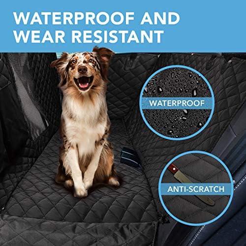 Funda protectora para asiento trasero de perro 900D con malla de visualización y bolsillo de almacenamiento, resiste agua y antiarañazos para protección del asiento trasero, para todo tipo de vehículo 5