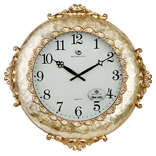 Jedfild European style wall clock creative living room modern art personality mute watches, yellow and white.