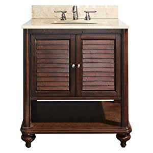 Avanity Tropica 30 In Vanity With Galala Beige Marble Top And Sink In Antique Brown Finish