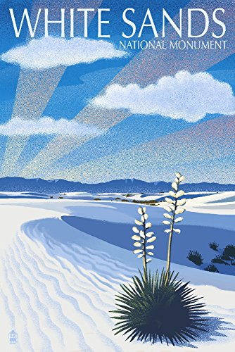 White Sands National Monument  New Mexico   Day Scene   Lithography  9X12 Collectible Art Print  Wall Decor Travel Poster