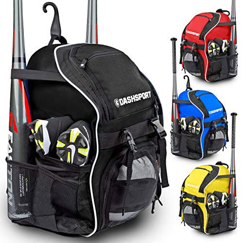 - DashSport Baseball Bag Softball Backpack Bat Bag | T-Ball Equipment and Softball Bag | Bat Pack (Black)
