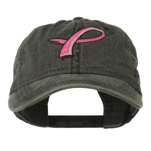 E4hats Hot Pink Breast Cancer Logo Embroidered Washed Cap - Black OSFM