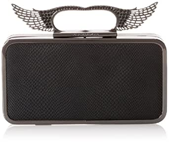BCBG Angel Pave Wings Knuckle Clutch,Black,One Size