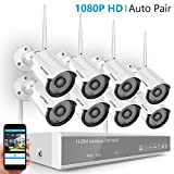 [Full HD] H.265 Wireless Camera System,Safevant 8CH 1080P NVR Home Security Camera System(NO HDD),8PCS 1080P Inddor/Outdoor IP66 Wireless Security Cameras,Auto Pair,Plug&Play,No Monthly Fee
