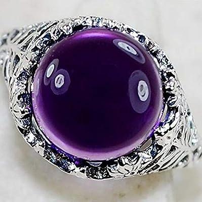 2.3ct Amethyst Women 925 Silver Wedding Bridal Ring Fashion Jewelry Size 6-10