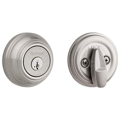 img buy Kwikset 99800-090 980 Single Cylinder Round Traditional Deadbolt Door Lock featuring SmartKey Security in Satin Nickel,