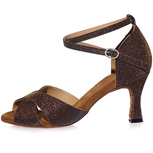 High Sandals Peep Wedding SZXF8349 Strap Cross Sarahbridal Shoes Women For Glitter Toe Prom Bridal Black Evening Heel Size wYvx7H