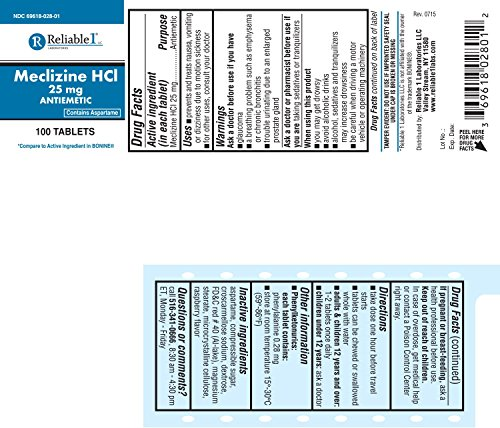 Reliable 1 Meclizine HCL 25mg 100 Tablets (3 Bottles)